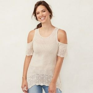 Lauren Conrad cold shoulder sweater top